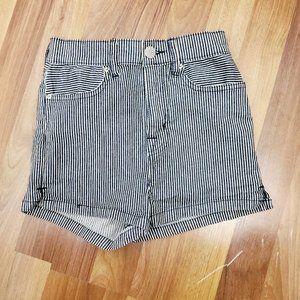 URBAN OUTFITTERS Blue Stripe High Waist Shorts EUC